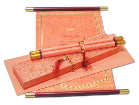 Pink Scroll Wedding Invitations