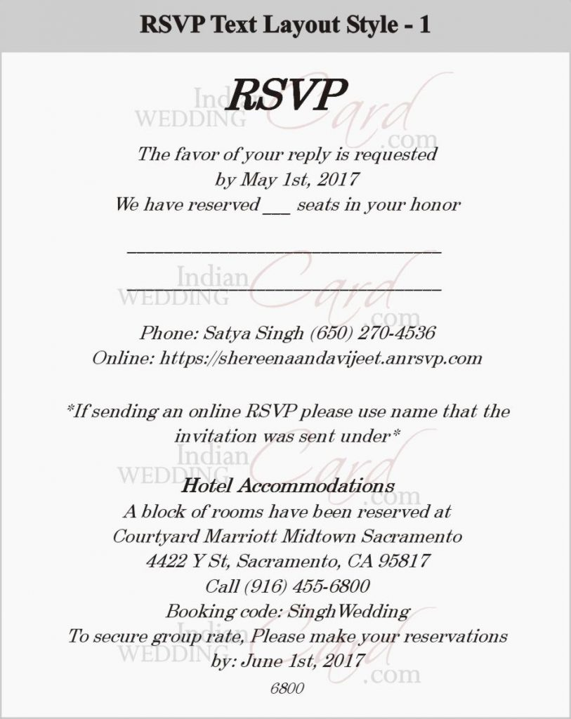 RSVP Wedding Cards Wording