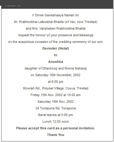 Indian Invitations Wording