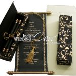 Get a great start for your wedding with designer scroll invitations
