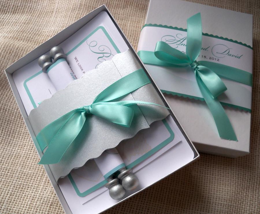 Boxed scroll invitations