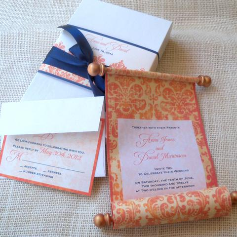 Scroll invitations with thick handles