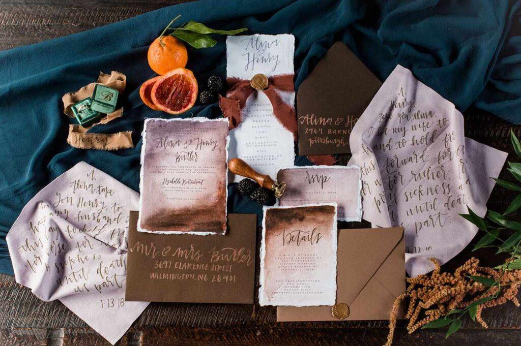 season themed wedding cards